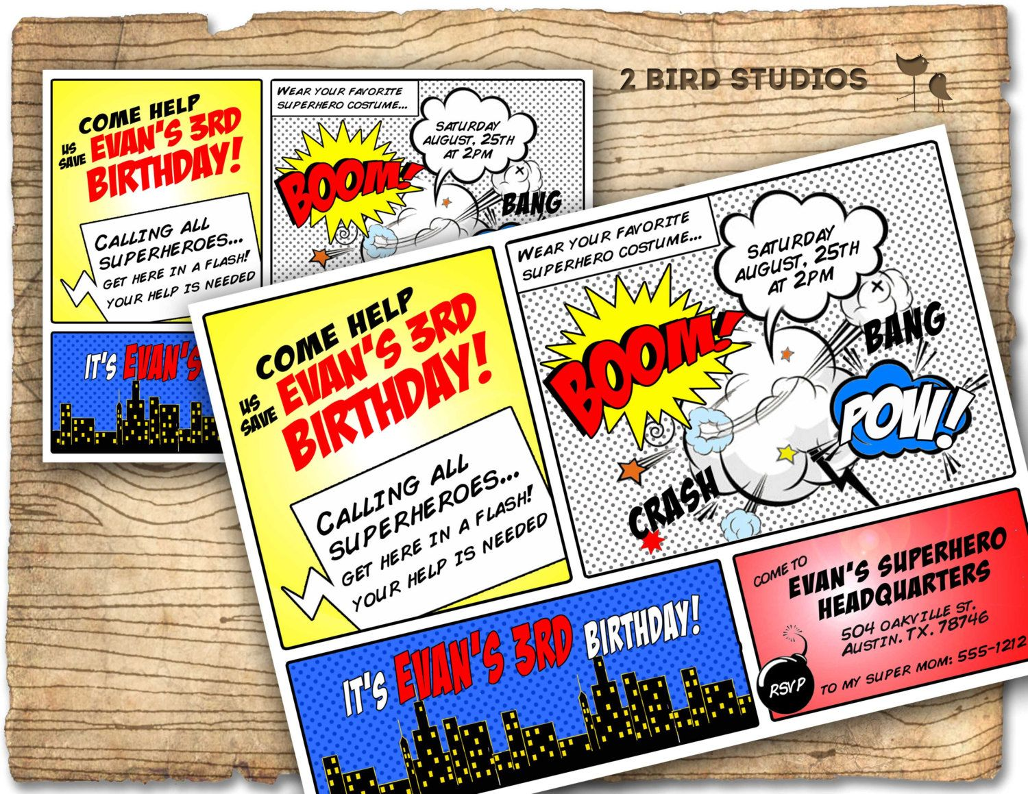 superhero invitation superhero birthday invite por 2birdstudios - Superhero Birthday Party Invitations