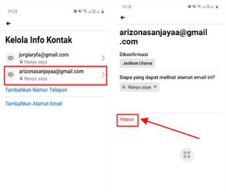 cara menghapus email utama di facebook