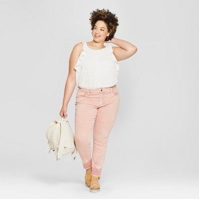 72aa5794670 Women s Plus Size Released Hem Skinny Jeans - Universal Thread Pink ...