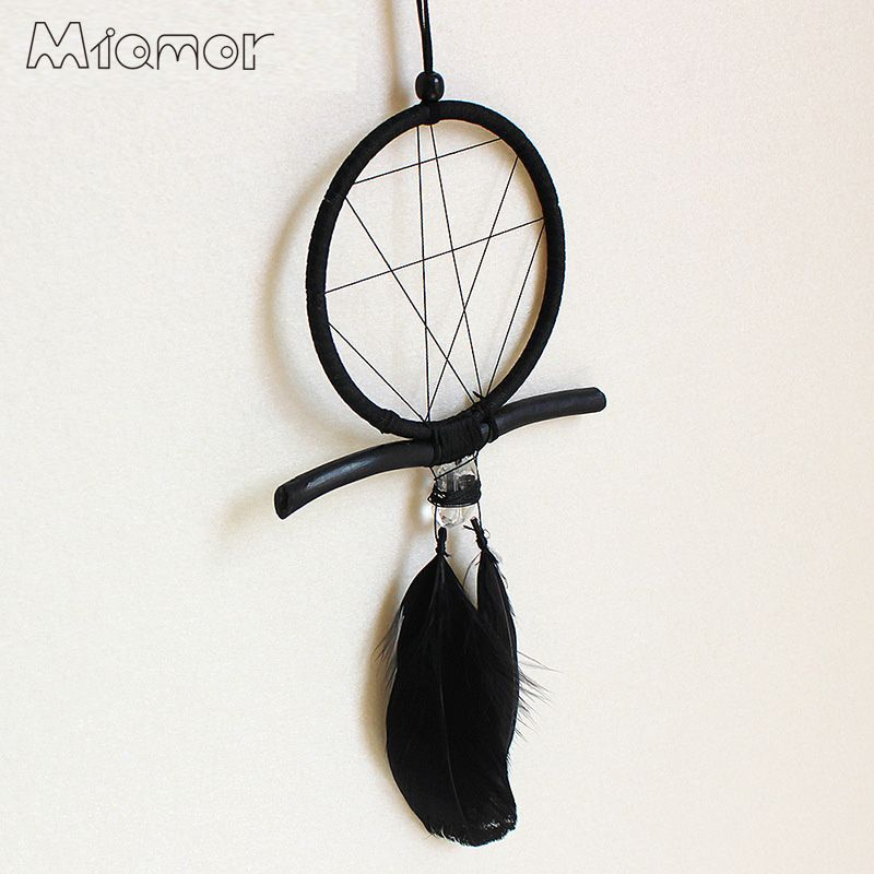 Magic Black Dreamcatcher Gift Handmade Dream Catcher Net With Feathers Wall Hanging Decoration Decor Ornament Amor025