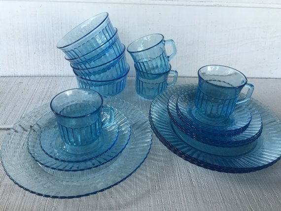 Vintage Fortecrisa Blue Glass Dinnerware By 1350northvintage