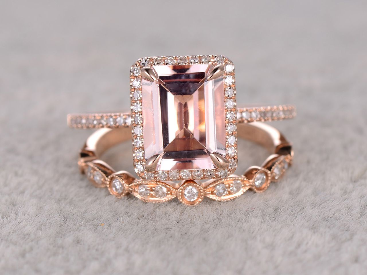 25 to 3 carat emerald cut morganite engagement ring set diamond bridal ring 14k rose gold - Morganite Wedding Ring Set