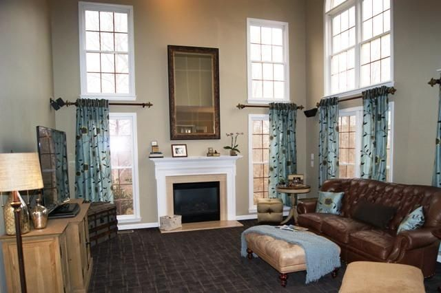 Leather Couch And Fabric Ottoman Etc Images Of Two Story Curtains Story Great Rooms Curtain Window Treatments Living Room Great Rooms Living Room Blinds