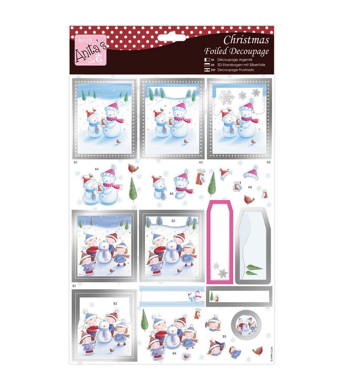 AnitaS A4 Foiled Decoupage Sheet-The Nativity