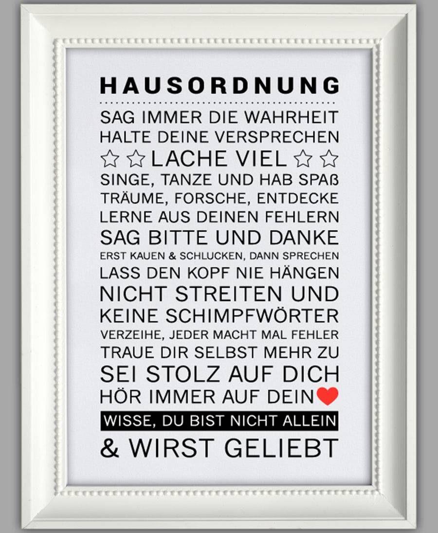 """Smart Art ☆ Kunstdruck """"Hausordnung""""   Hausordnung, Geschenke zur ..."""