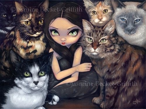 Jasmine Becket-Griffith art BIG print SIGNED It/'s All About the Cats siamese pop