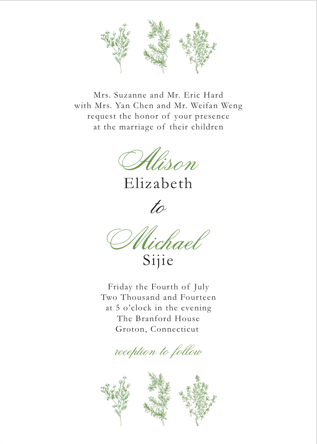 Clean, minimalist, modern, custom letterpress wedding invitation ...