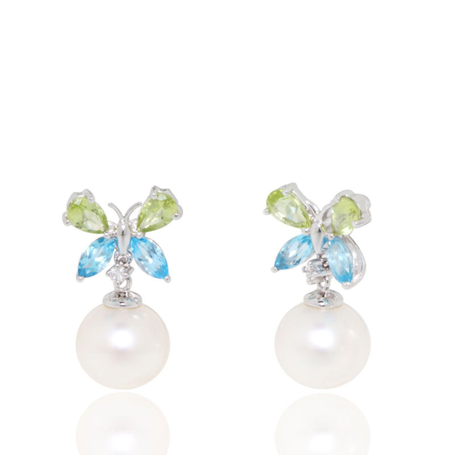 Butterfly Peridot and Blue Topaz Earrings with Freshwater Pearls