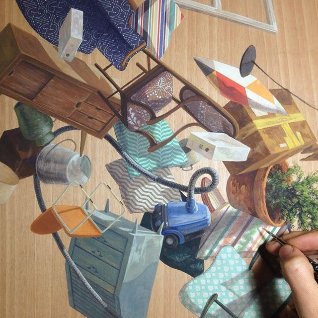 'Chaos wave' #painting #pintant #collage #workinprogress #thinkspacegallery #honolulu