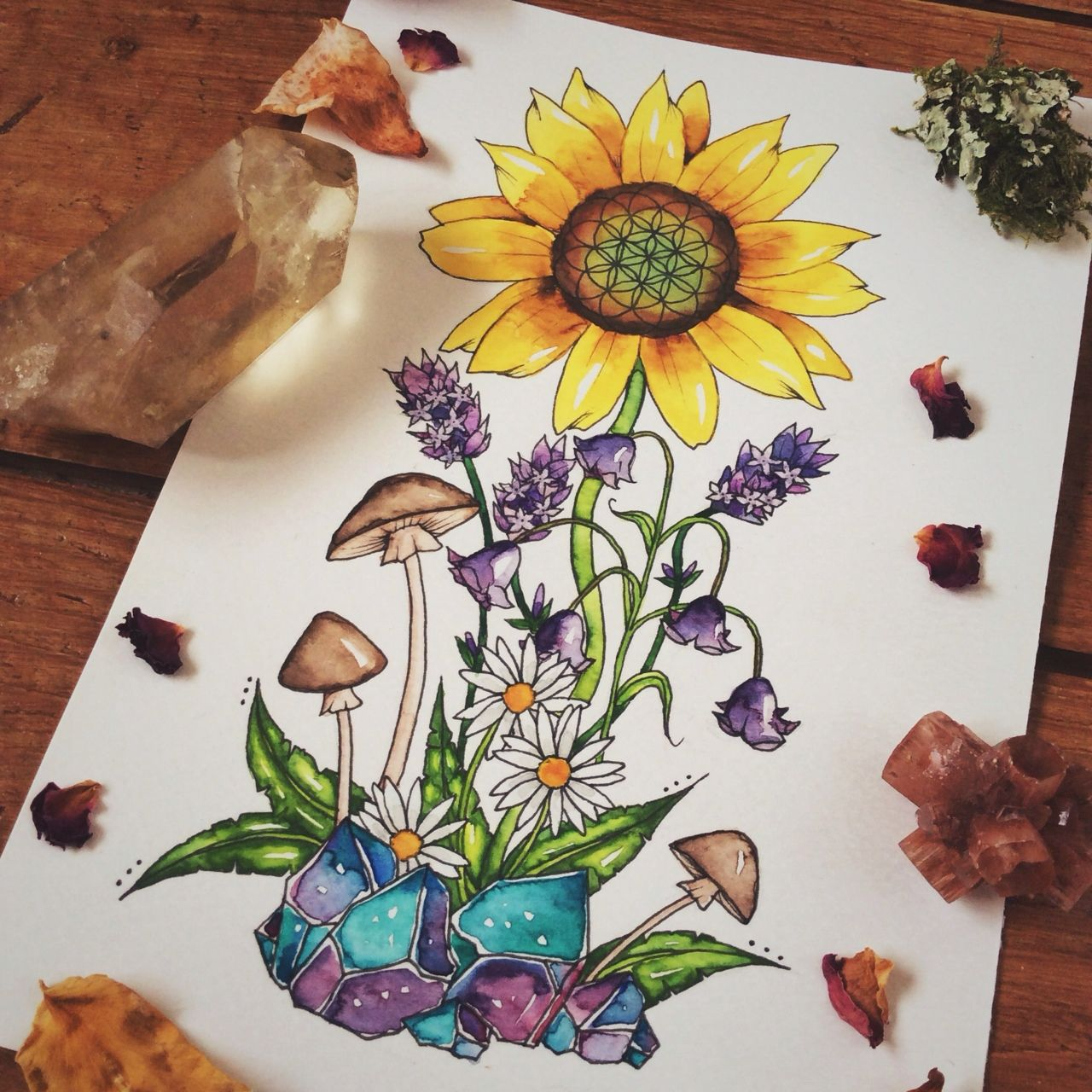 """luna-patchouli: """" Sunflower, lavender, bluebells and daisies commission! ♥︎ """""""