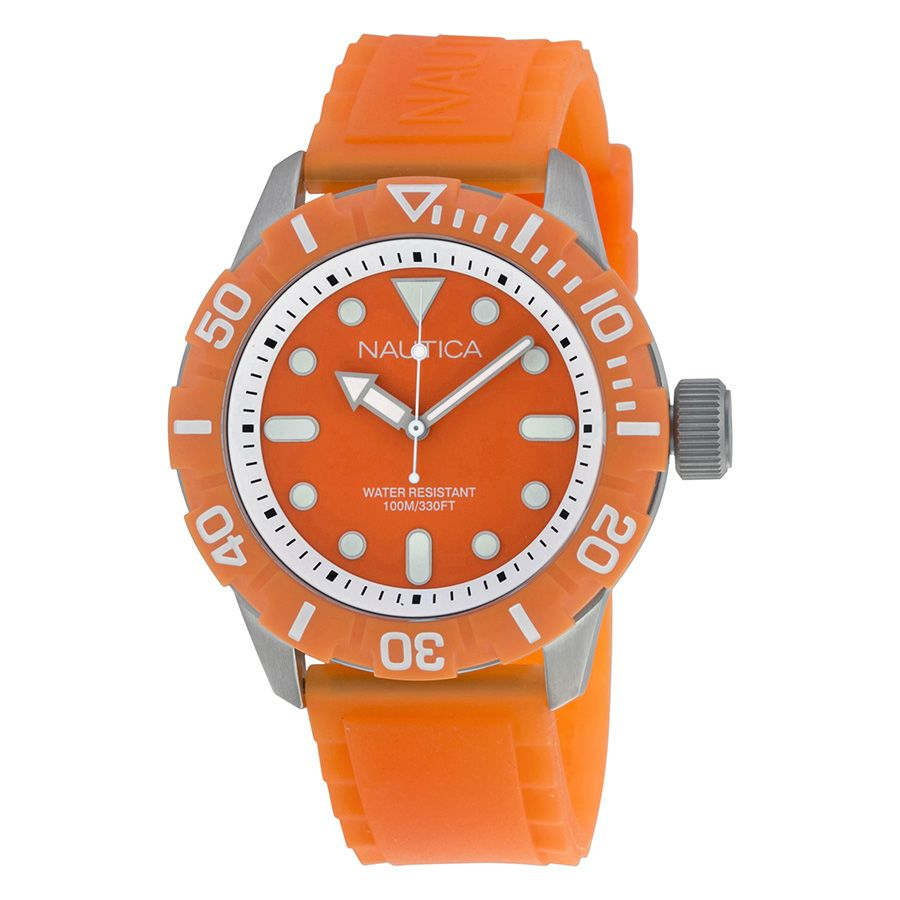 Nautica Orange Dial Orange Silicone Rubber Unisex Watch A09604G. http://www.watchvendor.ca/nt-a09604g.html