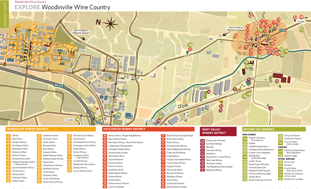 Woodinville Wine Country Map - Just east of Seattle, in the ...