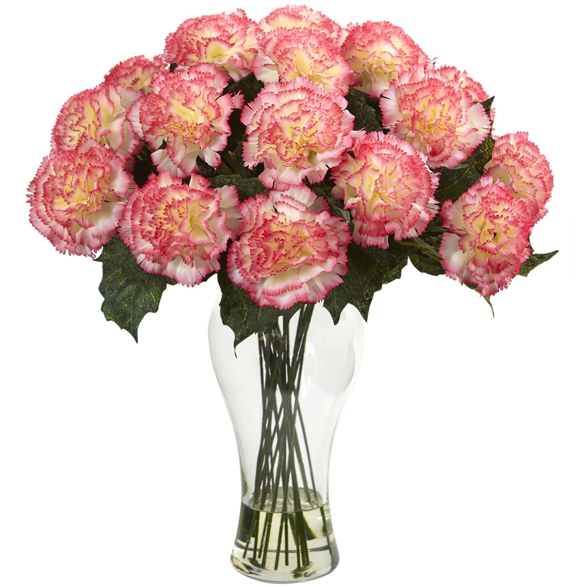 18 H Blooming Pink Carnations Arrangement In Vase Carnation Pink
