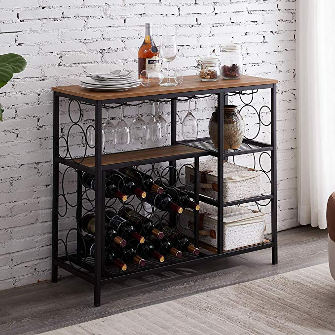 Amazon Com Hombazaar Industrial Wine Rack Table With Glass Holder And Wine Storage Console Table With Wi Wine Rack Furniture Wine Rack Table Home Bar Cabinet