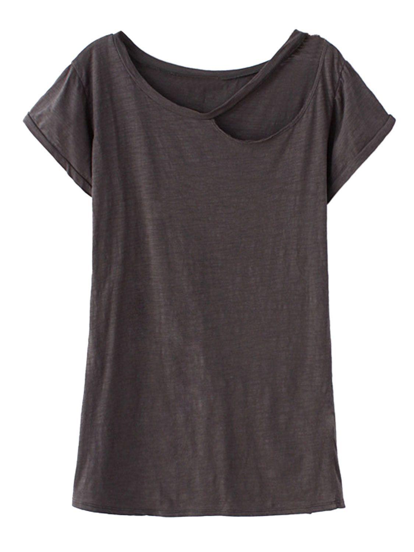808e85bb792 Gray Ripped Short Sleeve T-shirt