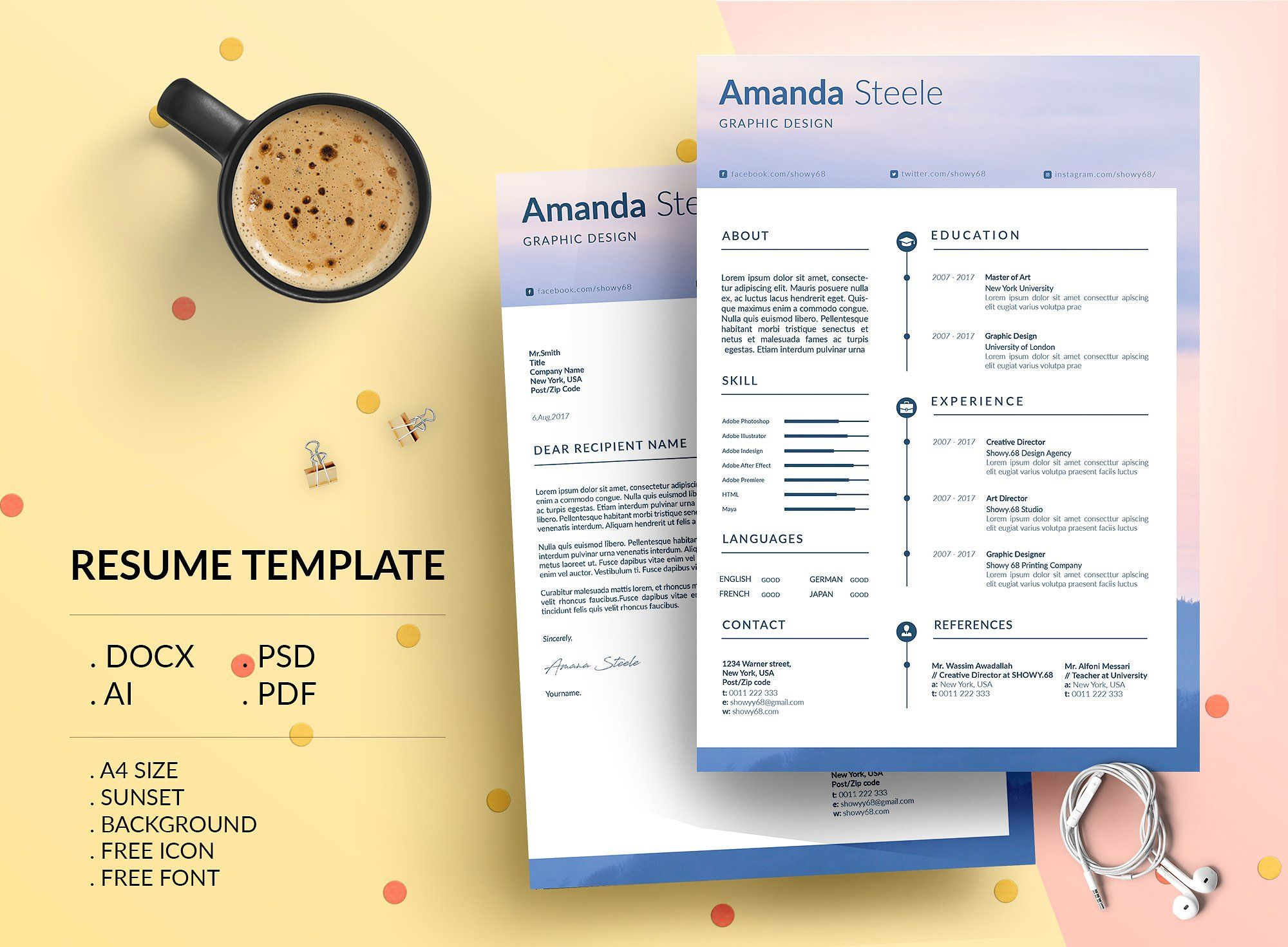 Sunset Cv  Resume Template  N By Showy Template On