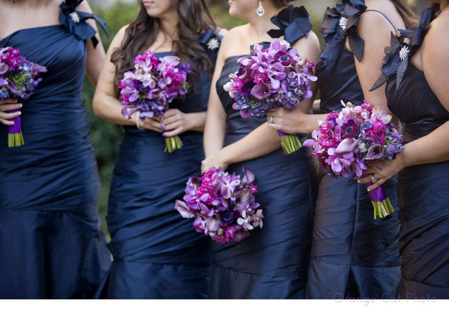 Purple bouquets navy bridesmaid dresses orange cat Navy purple color