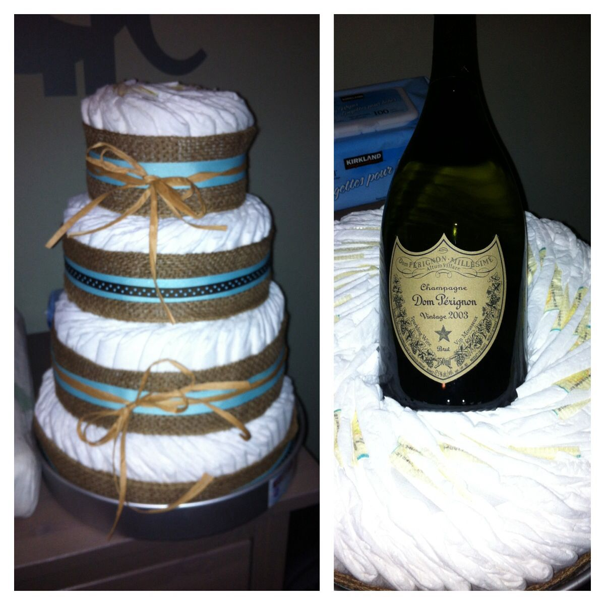 Proud of this one. Diaper cake with Dom inside. @Marci Bertsch