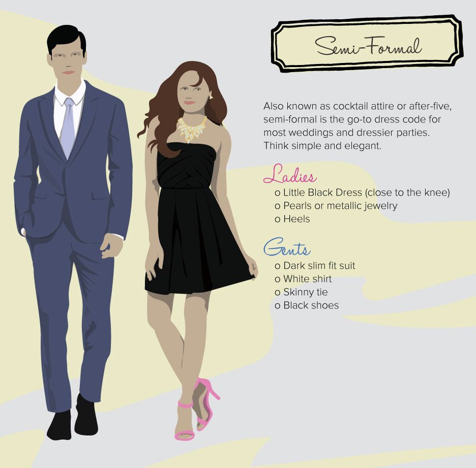 Decoding the dress code semi formal fashion my style for Formal dress code wedding