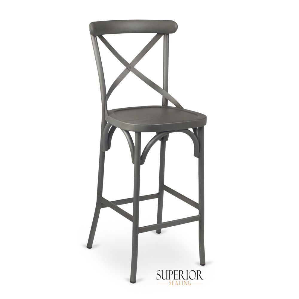 French Grey Metal Cross Back Commercial Bar Stool Commercial Bar Stools Bar Stools Metal Bar Stools