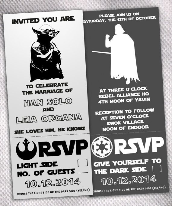 sample star wars light side / dark side wedding invitation set on, Wedding invitations