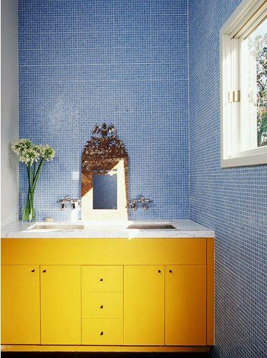 Fun Bright Bathroom Yellow Bathrooms Trendy Bathroom Tiles Yellow Cabinets