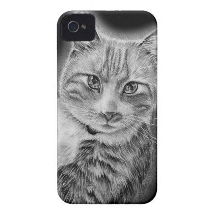 drawing of cat black and white animal art case mate iphone 4 case