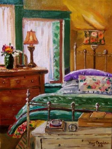 Bedroom interior painting oil original Original art painting by Kay ...
