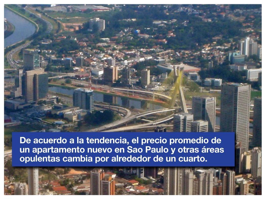 De acuerdo a la tendencia, el precio promedio de un apartamento nuevo en Sao Paulo y otras áreas opulentas cambia por alrededor de un cuarto.