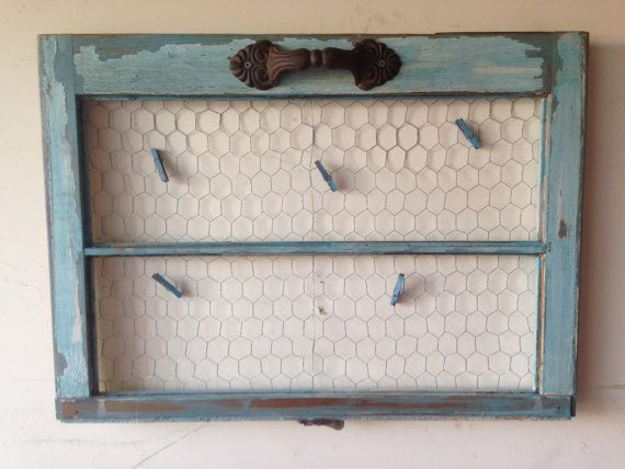 Old window frame distressed window with photo clips to hold your ...