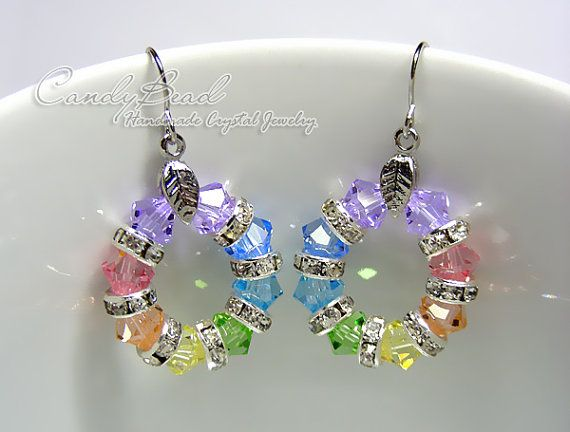 Swarovski Kristall Rondelle Ohrringe, süße Regenbogen Swarovski Kristall Ohrringe (E018-02)