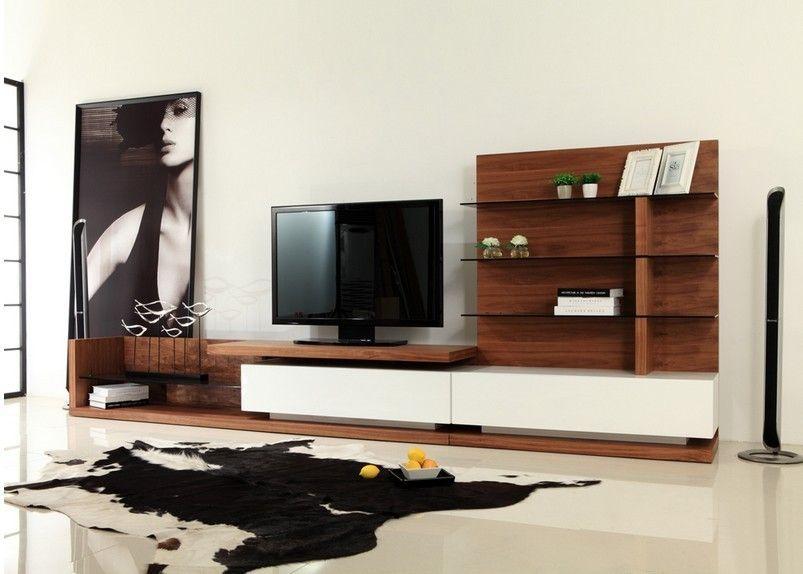 Modrest jefferson mid century walnut and white high gloss - Cream high gloss living room furniture ...