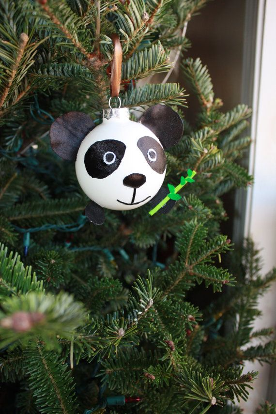 Panda bear ornament.Glass Christmas tree ornament,panda with a ...