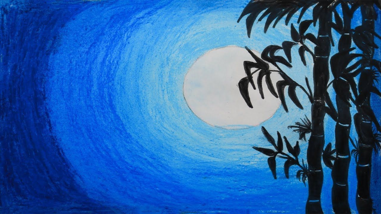 How To Draw A Scenery Of A Moonlit Night Step By Step With Oil