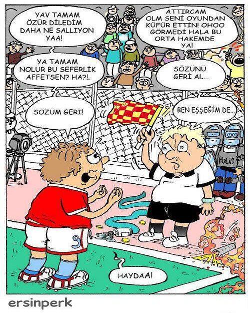 Küfür Eden Futbolcu Ve Yardımcı Hakem Karikatürü Ersin Perk