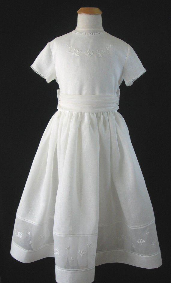1eb0e860559 Embroidered Irish Linen First Communion Dress - Katie