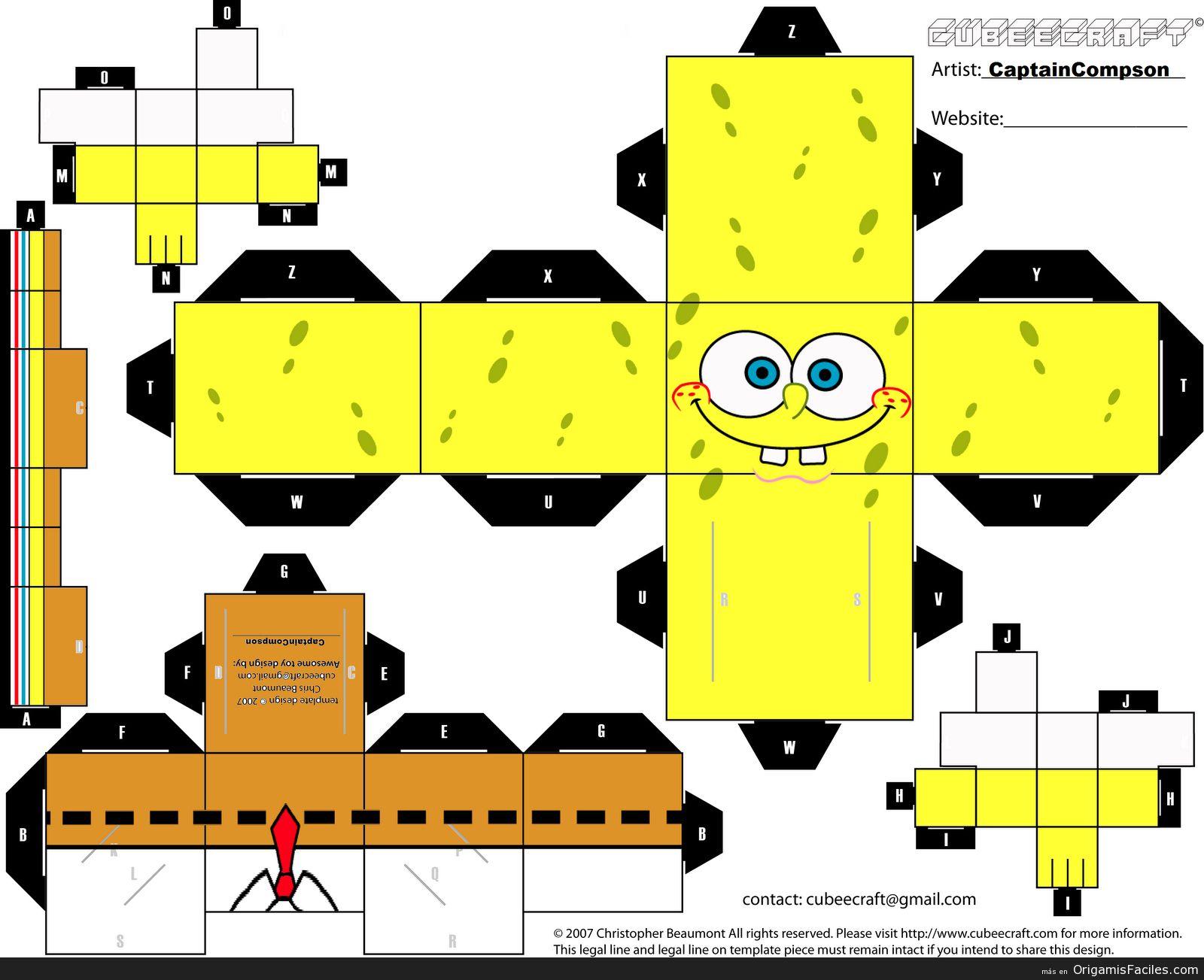 Bob Esponja Spongebob Crafts Paper Toys Spongebob