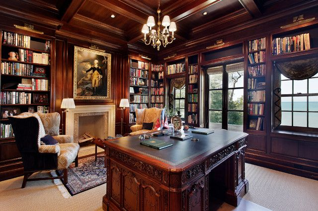 Can T Go Wrong With A Classic Study Covered In Wood Paneling Vintage Home Offices Victorian Interior Design Victorian Interior