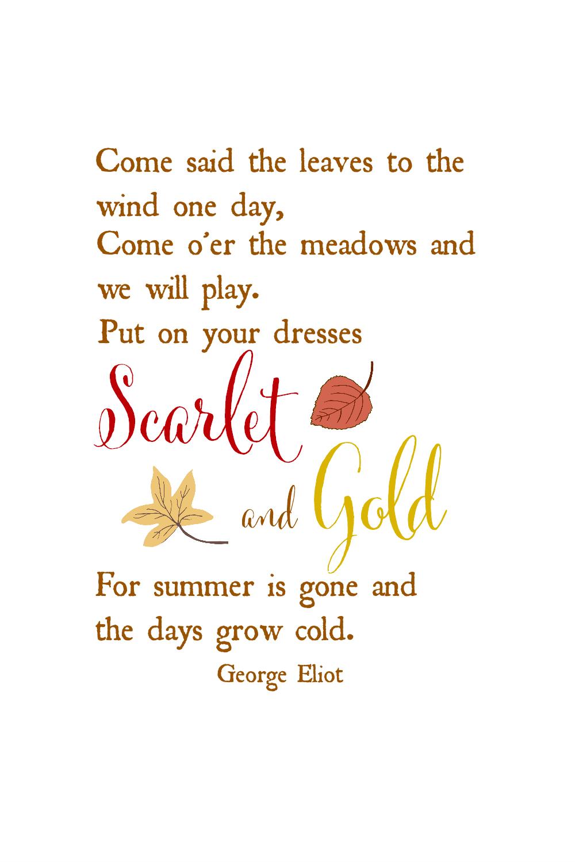Scarlet & Gold Autumn quotes, eliot quotes, Poems