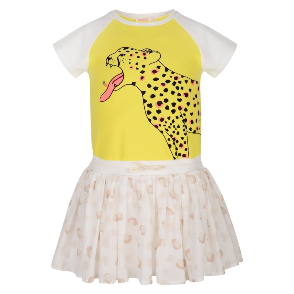 4cbdaf13d0a2 Billieblush Girls Yellow Dress with Cheetah Print and Cream Frilled ...