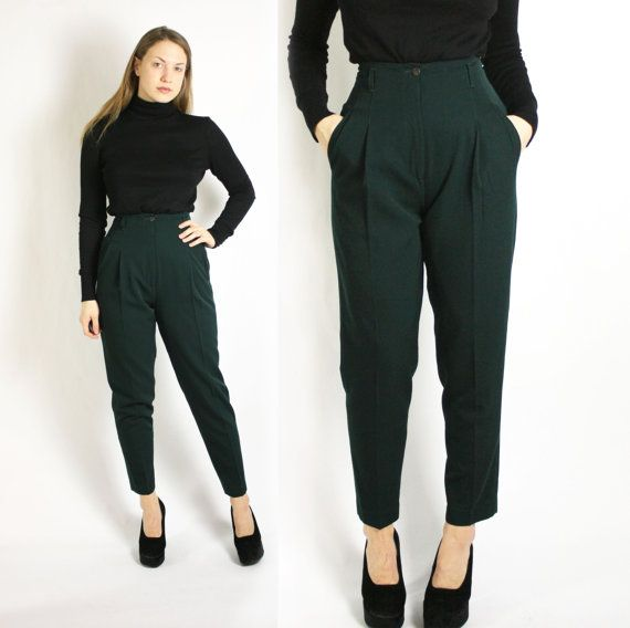 Vintage 80's 90's Dark Green Wool High Waisted by VintageEasyStyle