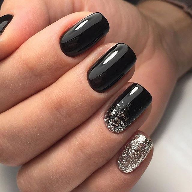 Squoval Silvers: Black Squoval Nails With Silver Glitter Edging. #nails