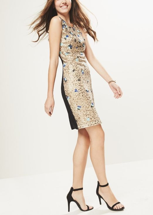 Such a sparkly beauty! This gold and sequin body-con dress will be perfect for a homecoming dance.