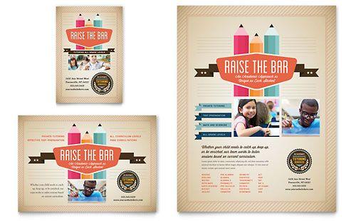 Tutoring School   Flyer Template Design Sample  Advertising Brochure Template