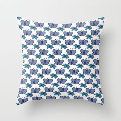 Blue Flowers and Butterflys Throw Pillow by Dawn OConnor - $20.00