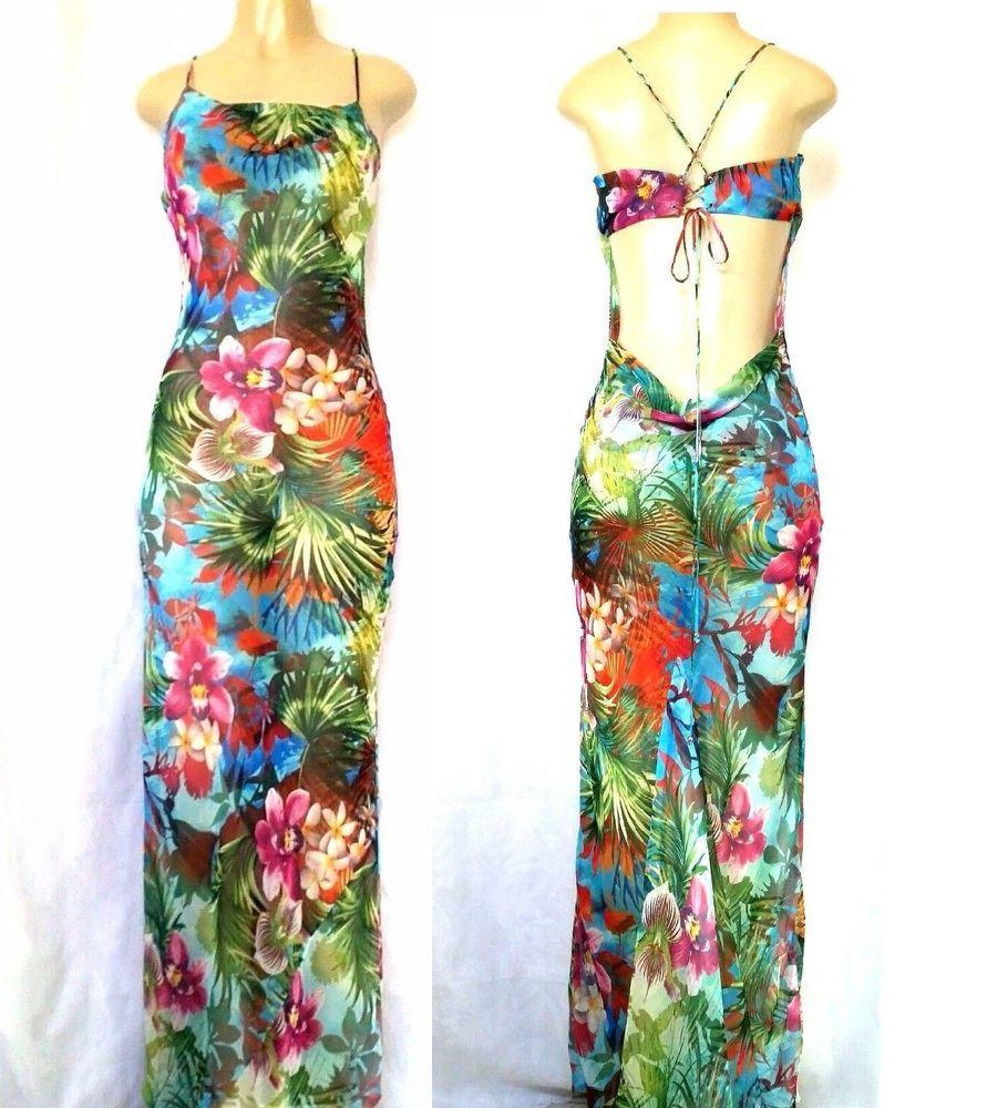 Victoria Secret Maxi Dress Sheer Tropical Cover Up Lace Floral Green Long Strap Victoriassecret Beachdressmaxi An Dresses Sheer Dress Designer Outfits Woman [ 1000 x 891 Pixel ]