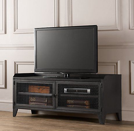 French Railroad Media Console Wall Systems Restoration Hardware Baby Child Metal Tv Standretro