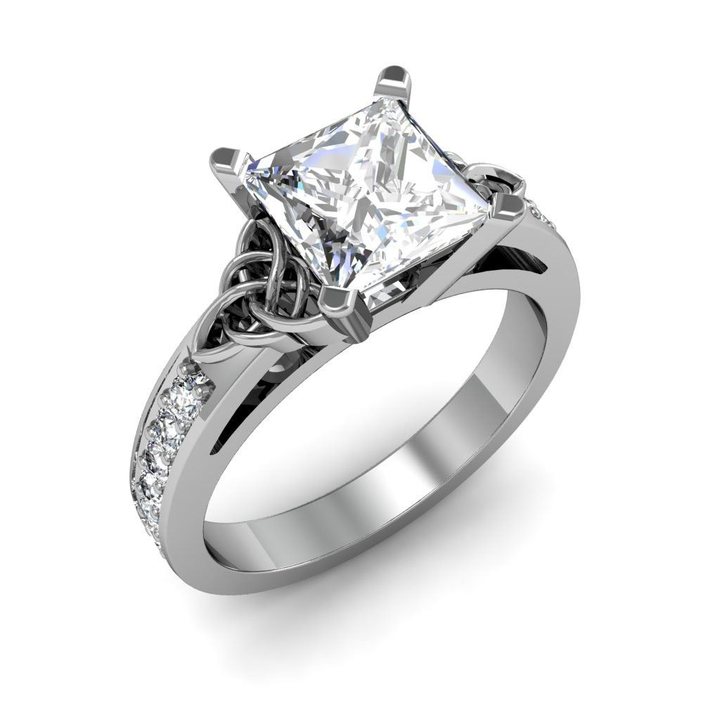 Award Winning Hand Crafted Celtic Trinity Knot Engagement Ring With A  Princess Cut Natural Diamond In