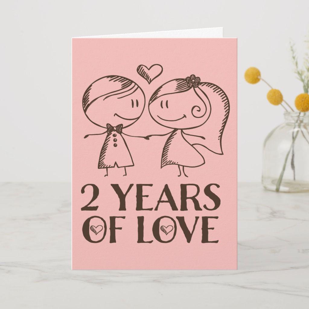 2nd Anniversary Hand Drawn Couple Greeting Card Zazzle Com Anniversary Cards Handmade Happy Anniversary Cards Anniversary Greeting Cards