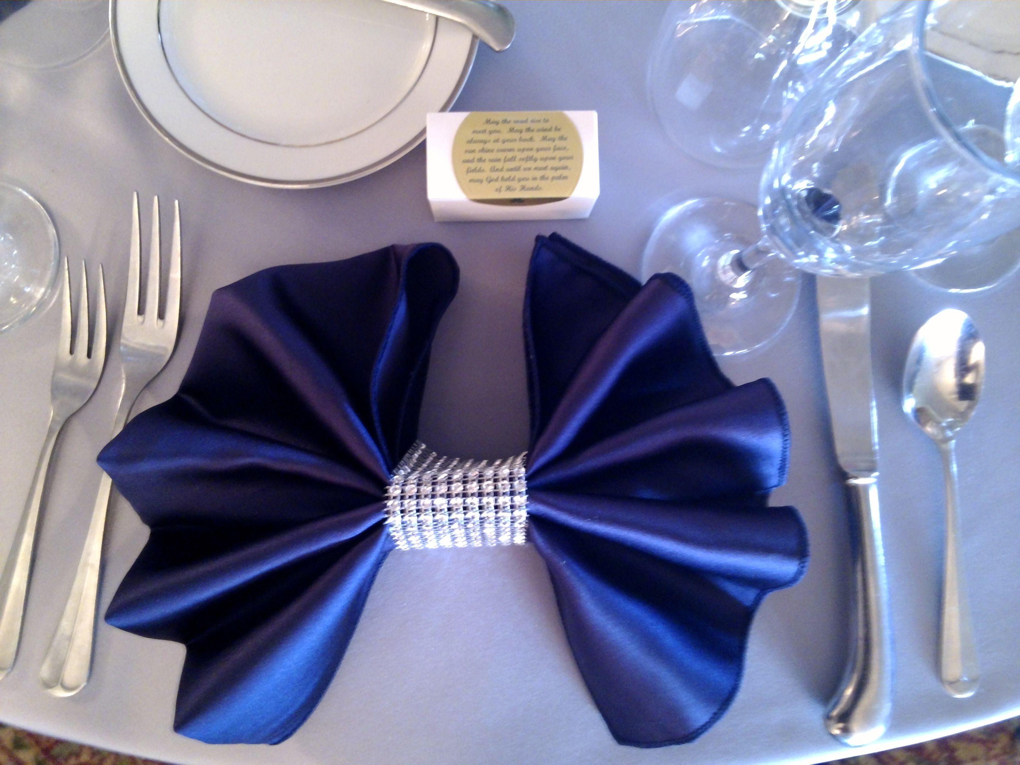 Fun bow tie napkin fold with silver rhinestone napkin ...